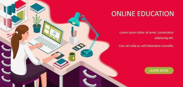 自宅でオンライン学習。机に座ってノートパソコンを見ている学生。 eラーニングバナー。 webコースまたはチュートリアルの概念。遠隔教育フラットアイソメトリックイラスト。 Premiumベクター