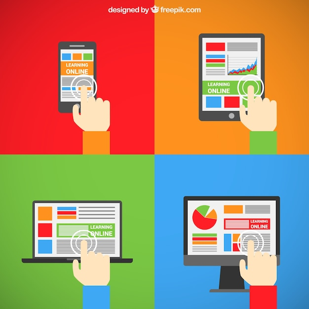 Learning online in different screens Free Vector