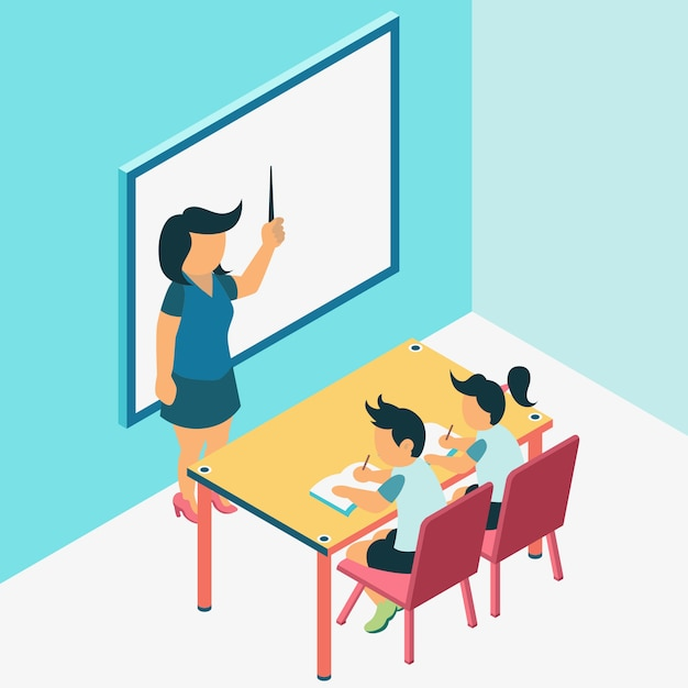 Learning process at classroom Premium Vector