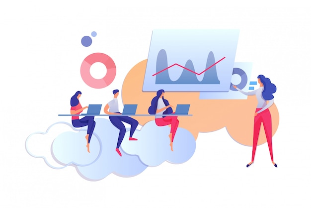 Learning process. teacher and students with laptop Premium Vector