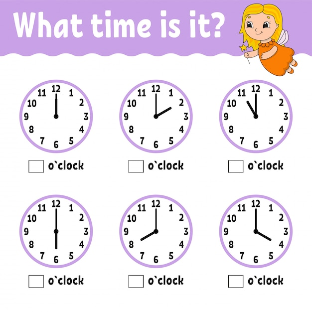 Learning time on the clock. educational activity worksheet for kids and toddlers. Premium Vector
