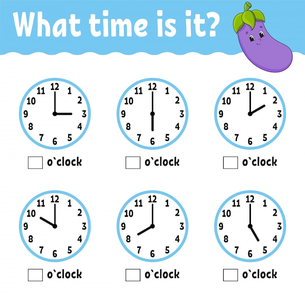 Premium Vector Learning Time On The Clock. Educational Activity Worksheet  For Kids And Toddlers.