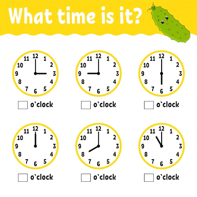 Learning time on the clock. Premium Vector