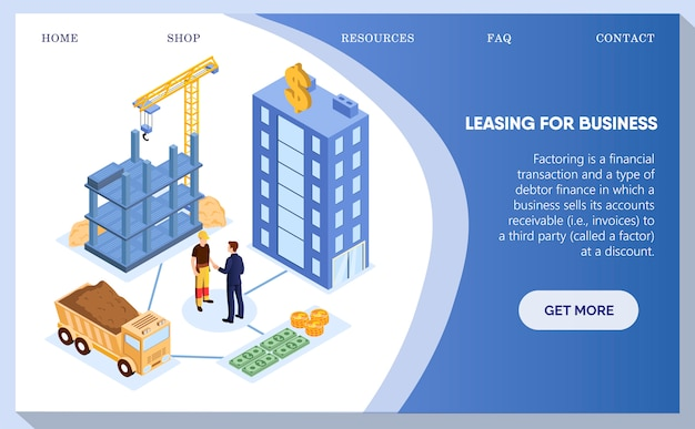 Leasing for business, building constuctions web. Premium Vector
