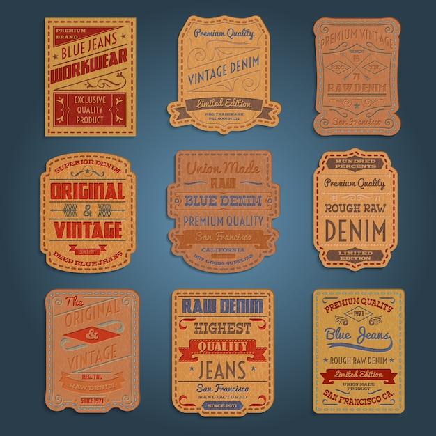 Leather classic denim jeans labels set Free Vector