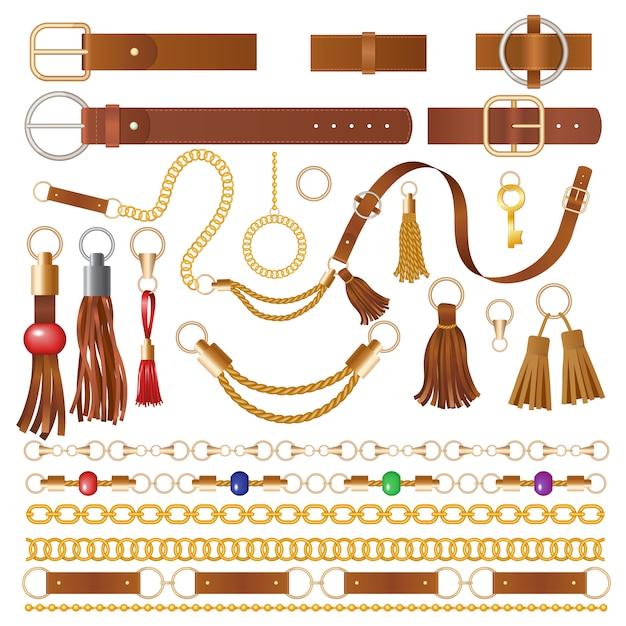 Leather elements. fabric decoration for clothes luxury chains straps and embroidery braided details illustrations Premium Vector