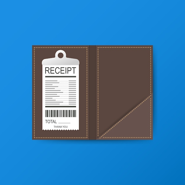 Leather folder for cash, coins and cashier check. Premium Vector
