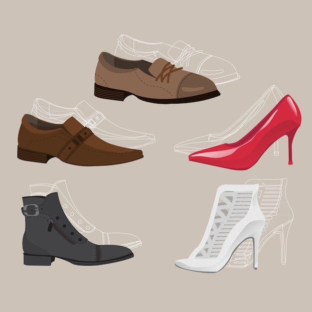 Leather formal party shoes Premium Vector