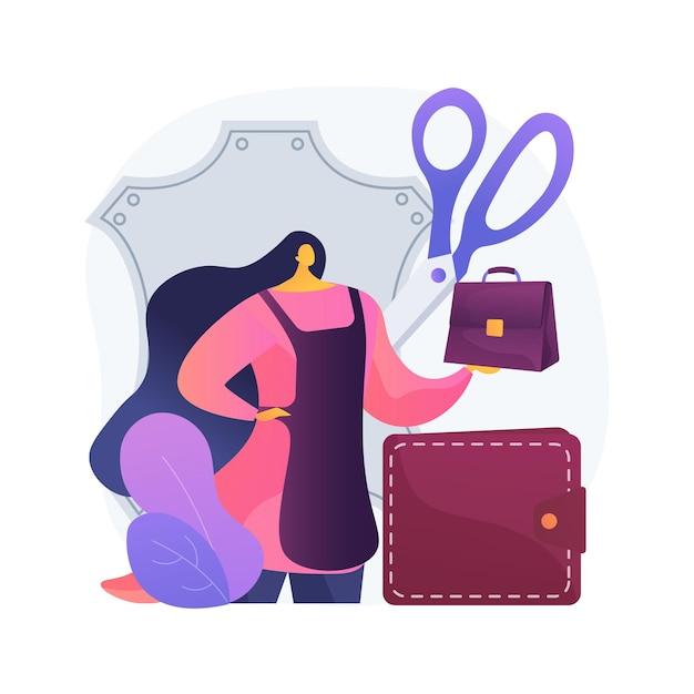 Illustrazione di concetto astratto di artigianato in pelle. prodotto artigianale, abbigliamento in vera pelle, borse e calzature firmate, prodotti artigianali, negozio online, articoli fatti in casa Vettore gratuito