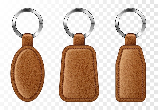 Leather keychains, brown keyring holders set. Free Vector