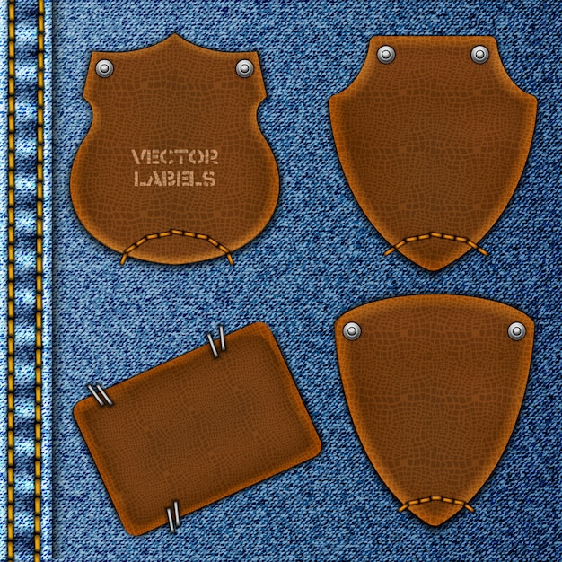 Leather labels on denim collection Premium Vector