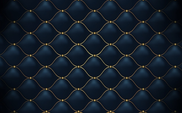 Leather texture. abstract polygonal pattern luxury dark blue with gold Premium Vector