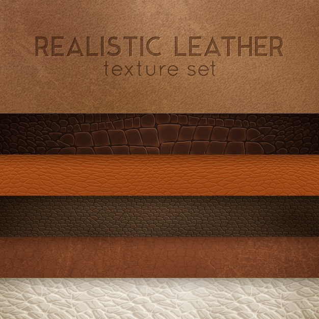 Leather texture realistic samples set Free Vector
