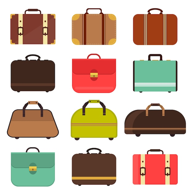 Leather travel bag vector. Premium Vector