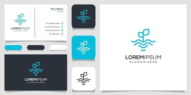 線画で葉と水の波のロゴ。波と自然のロゴ。ロゴデザインと名刺 Premiumベクター
