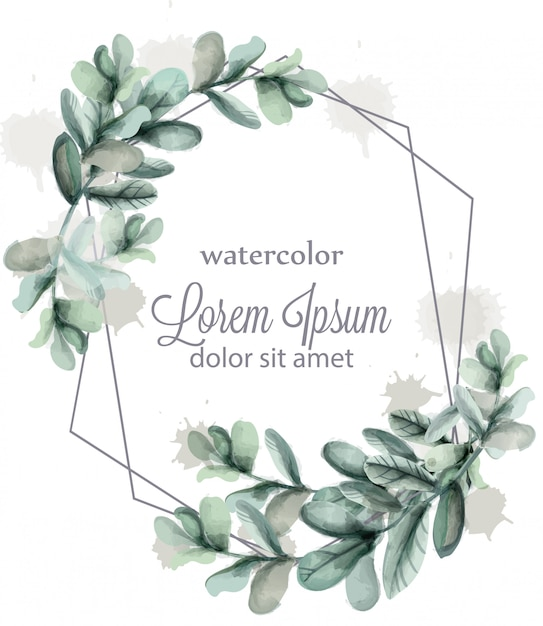 Leaves abstract wreath frame watercolor Premium Vector