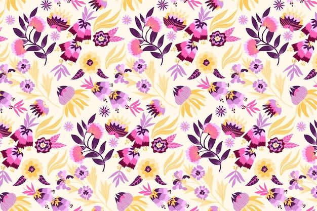 葉と熱帯の花のパターン 無料ベクター