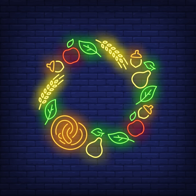 Leaves, apples, acorns, pears, pretzel and ears frame neon sign Free Vector