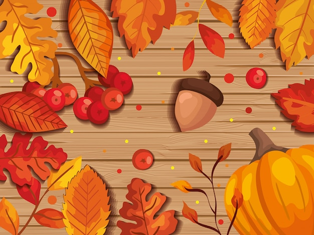 Leaves autumn in background wooden with nuts fruits Free Vector
