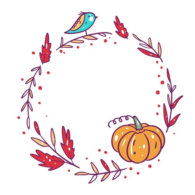 秋のフレームの手描きの漫画のスタイルを残します。 Premiumベクター