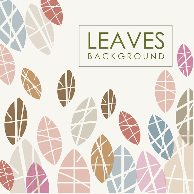Leaves background chalk effects Premium Vector