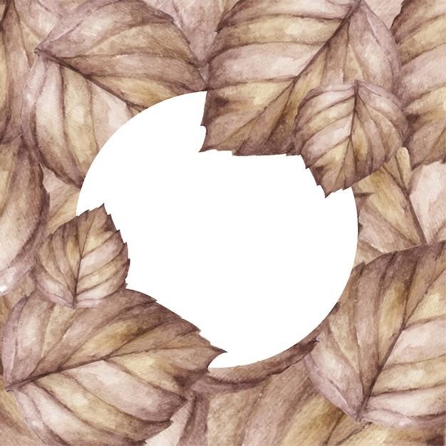 背景デザインとホワイトペーパーを残します。葉の上面図。自然の概念。水彩イラスト。 Premiumベクター