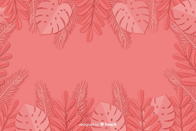 Leaves background in paper style Free Vector