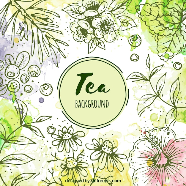 Leaves background to prepare tea Free Vector