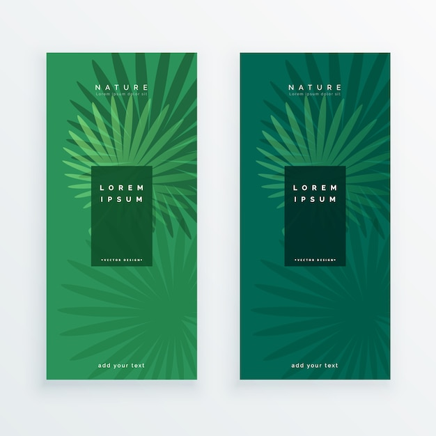 Leaves banners set in green color Free Vector