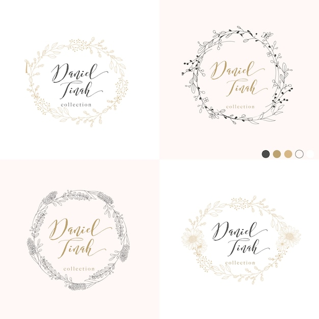 Leaves and branches frame for wedding invitation Premium Vector