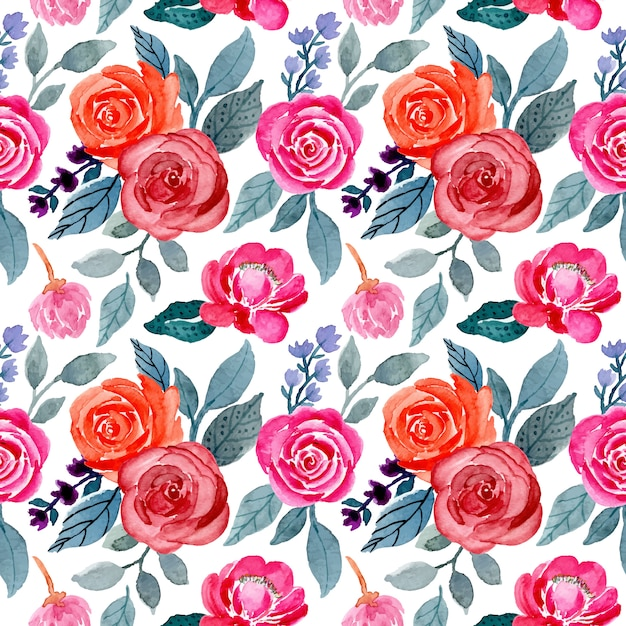 Leaves and flower watercolor seamless pattern Premium Vector