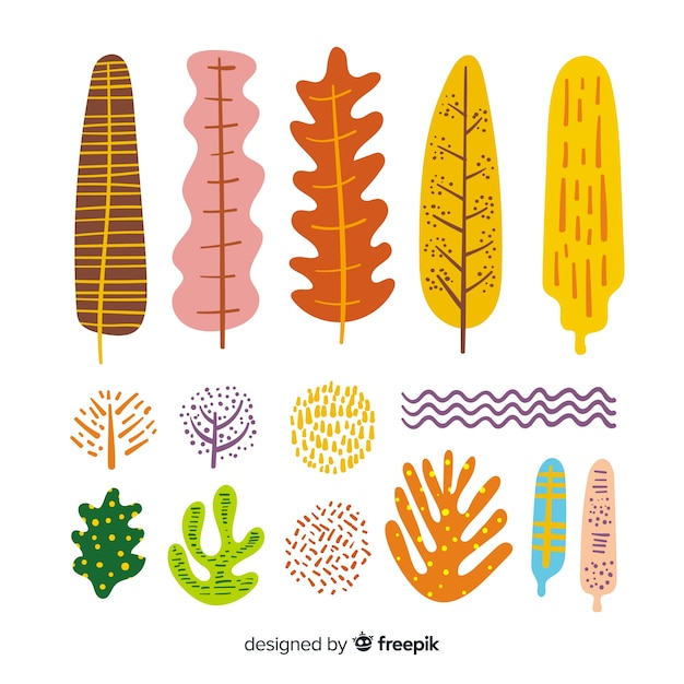 Leaves and flowers collection Free Vector