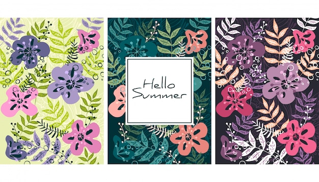 Leaves and flowers pattern Premium Vector