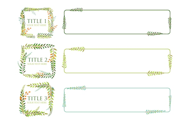 Leaves frame infographic vector with three titles Premium Vector