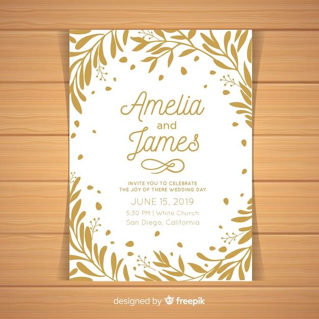 Leaves frame wedding invitation template Free Vector