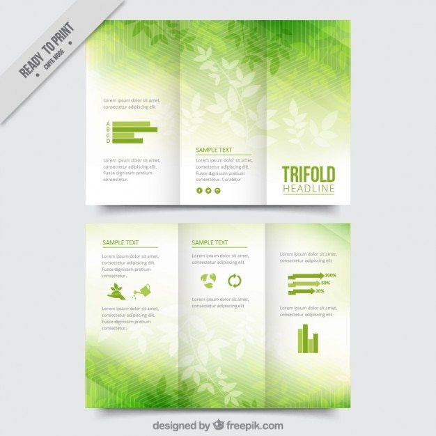 Leaves green trifold Free Vector