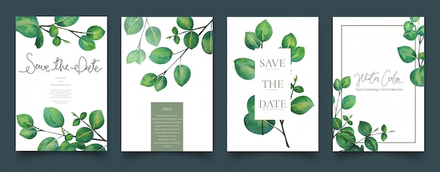 Leaves invitation cards watercolor painting. Premium Vector