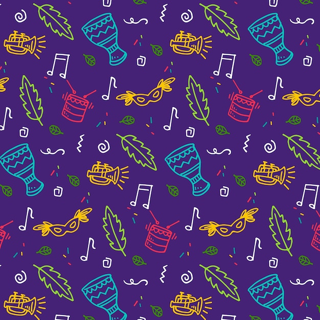 Leaves and music seamless carnival pattern Free Vector