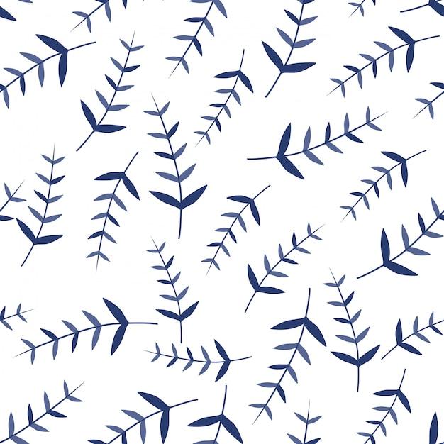Leaves ornament seamless patterns Premium Vector