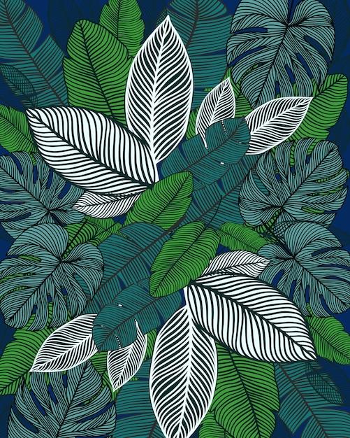 Leaves print pattern Premium Vector