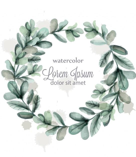 Leaves round wreath frame watercolor Premium Vector