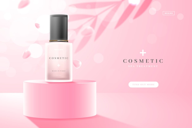 Leaves shadows and skincare product cosmetic ad Free Vector