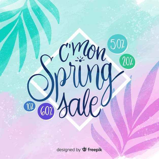 Leaves silhouette spring sale background Free Vector