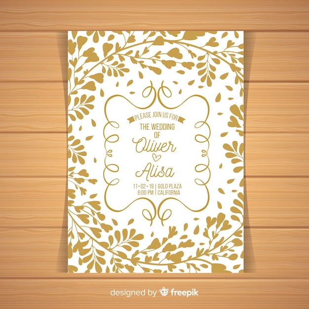 Leaves silhouette wedding invitation template Free Vector