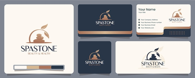 Leaves stone ,spa ,balance , business card and logo design Premium Vector