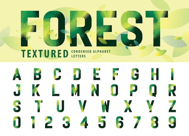 Leaves texture alphabet letters and numbers Premium Vector