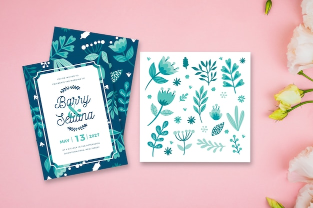 Leaves theme for wedding invitation Free Vector