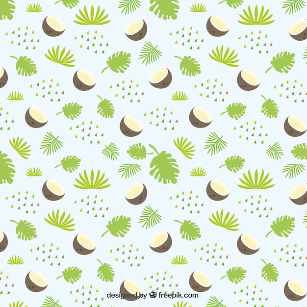 Leaves with coconut pattern Vector | Free Download