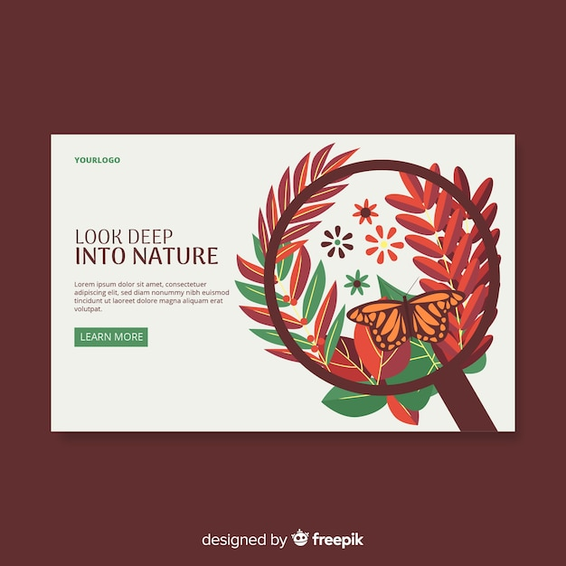 Leaves wreath nature landing page Free Vector