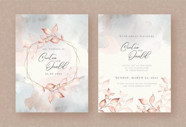結婚式の招待状の背景に花輪の水彩画を残します Premiumベクター